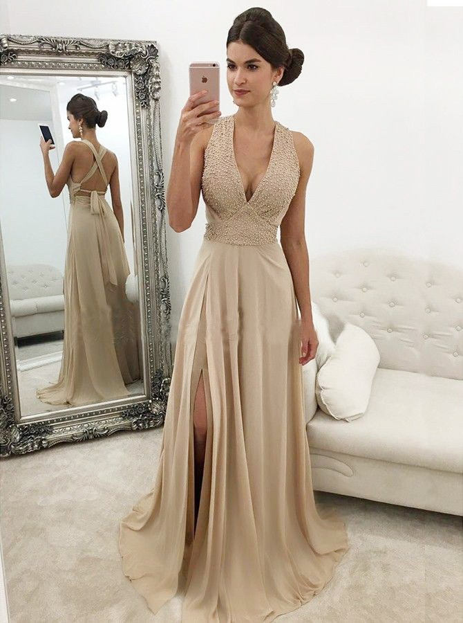 A-Line Deep V-Neck Champagne Chiffon Prom Dress with Beading