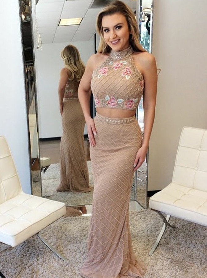 Two Piece High Neck Floor-Length Champagne Lace Beaded Prom Dress