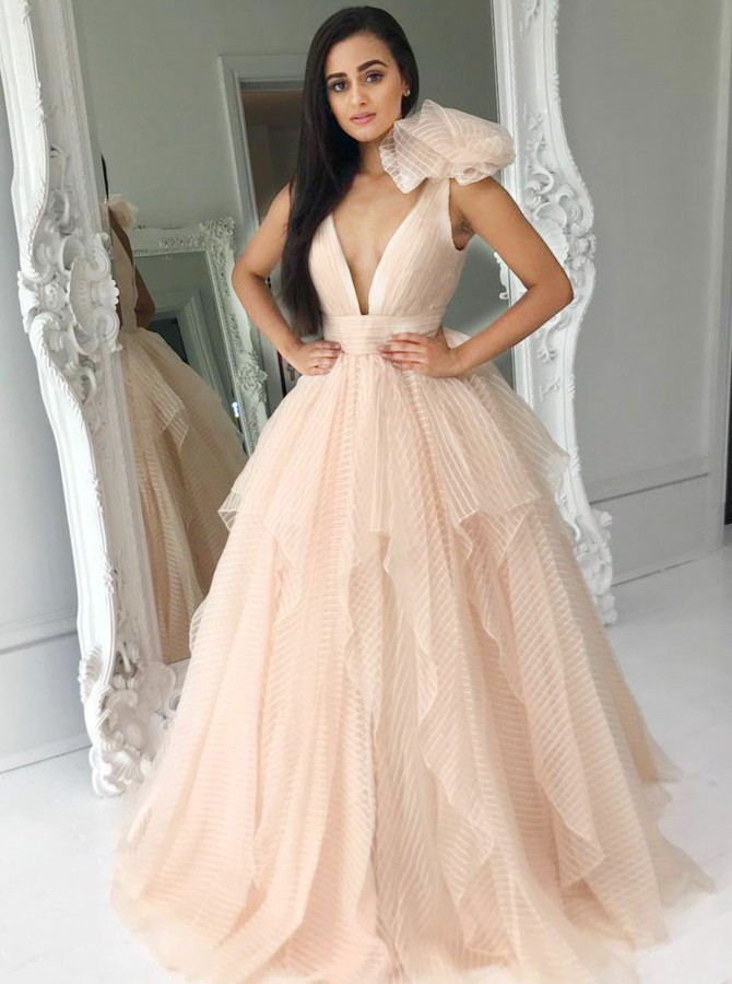 A-Line Deep V-Neck Floor-Length Pink Tired Prom Dress with Flower