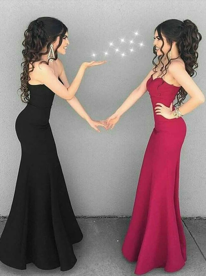 Mermaid Sweetheart Floor-Length Black Elastic Satin Prom Dress