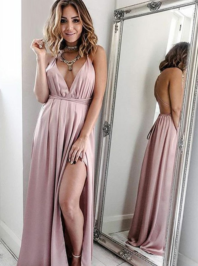 A-Line Spaghetti Straps Blush Convertible Prom Dress with Split