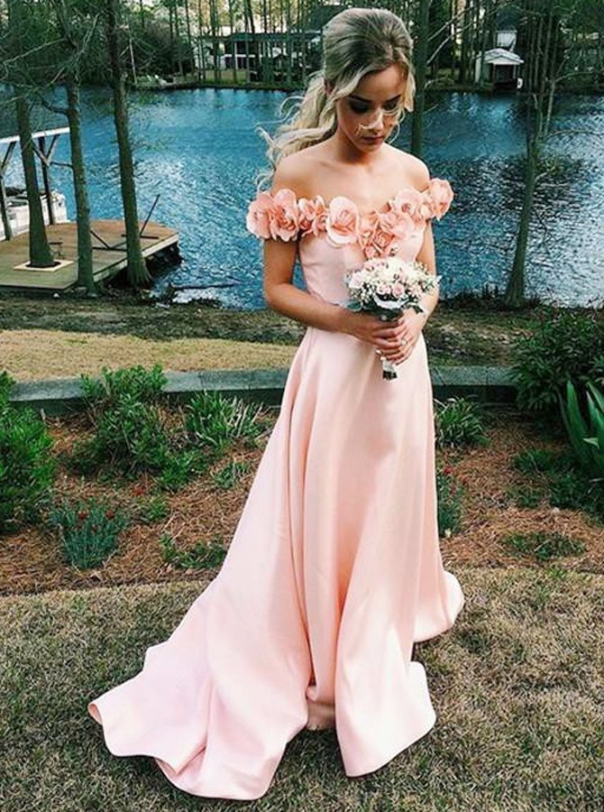 Sheath Sweetheart Sweep Train Pink Prom Dress with Flowers