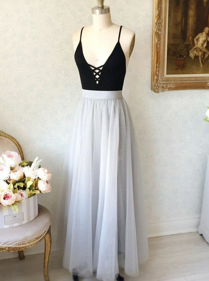 A-Line Spaghetti Straps Backless Floor-Length Light Grey Prom Dress
