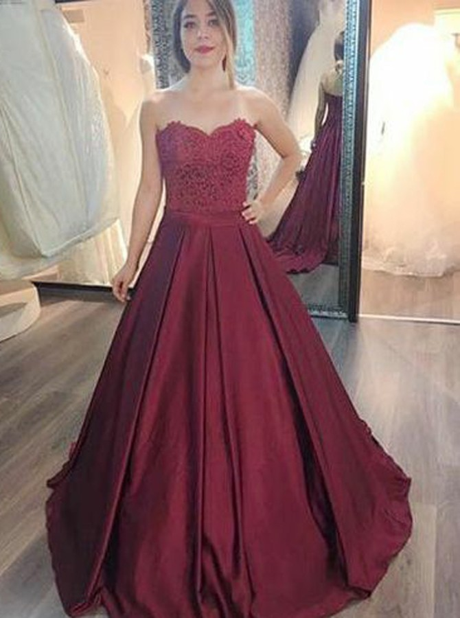 A-Line Sweetheart Sweep Train Burgundy Satin Prom Dress with Appliques