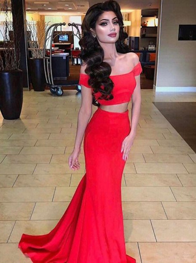 Two Piece Off-the-Shoulder Short Sleeves Sweep Train Red Prom Dress
