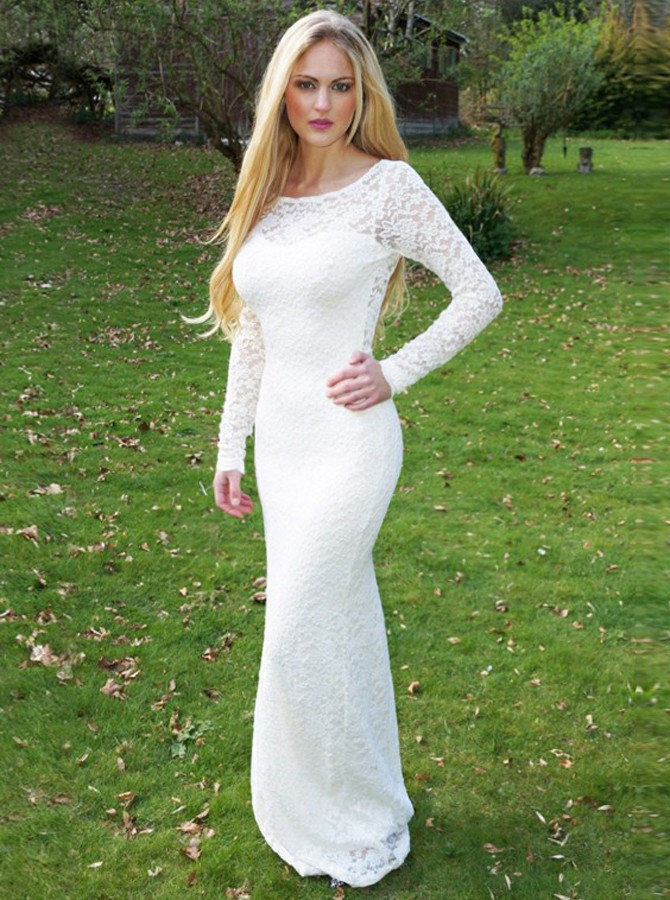 Mermaid Round Neck Long Sleeves Prom Dress Lace Open Back White Evening Dress