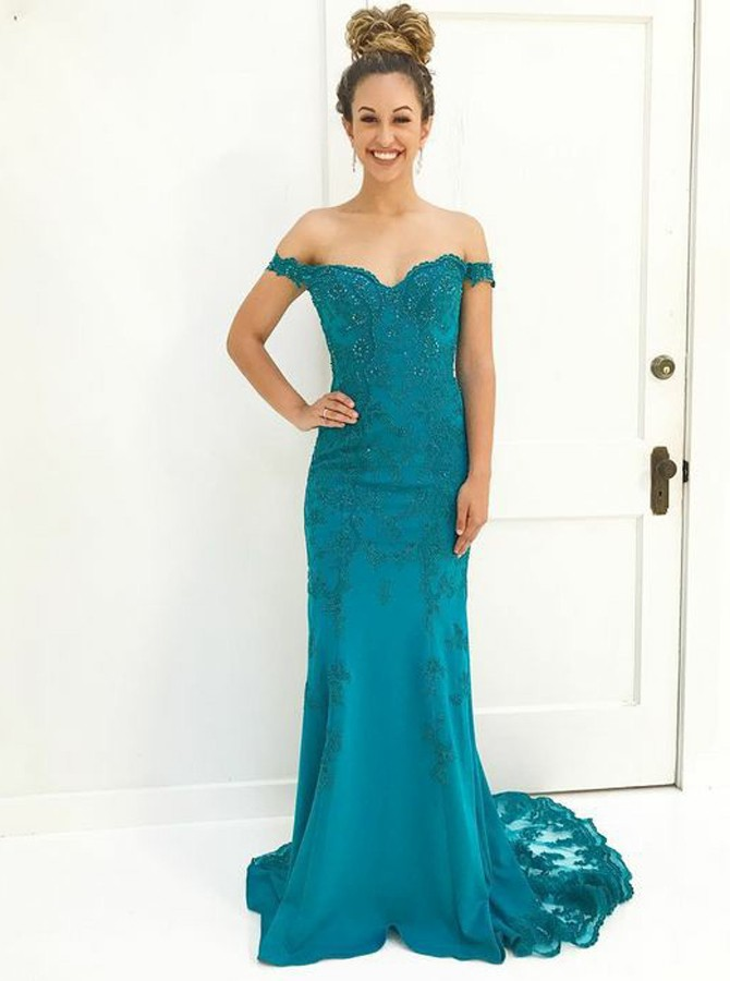 Mermaid Off-the-Shoulder Sweep Train Turquoise Prom Dress with Appliques