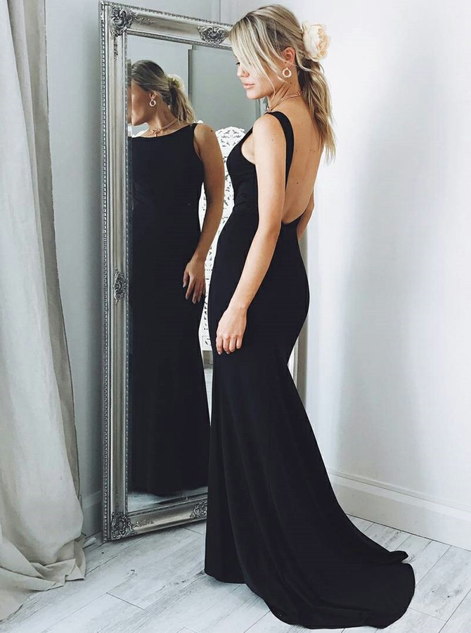 Mermaid Bateau Backless Sweep Train Black Elastic Satin Prom Dress