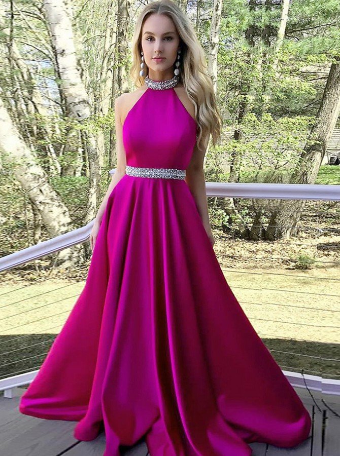 A-Line High Neck Long  Fuchsia Satin Prom Dress with Beading