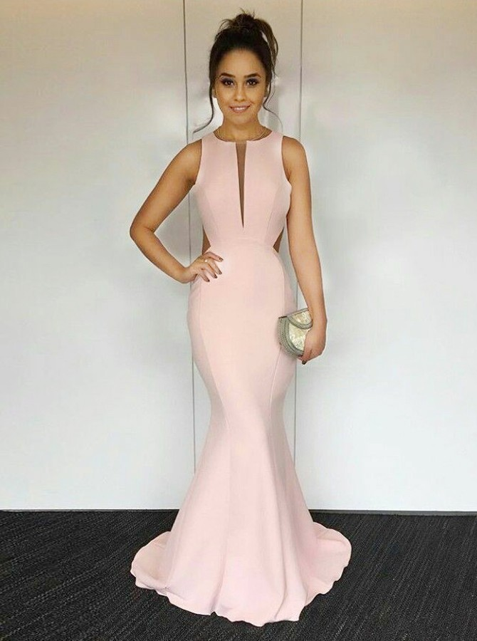Mermaid Round Neck Open Back Sweep Train Pearl  Pink Elastic Satin Prom Dress