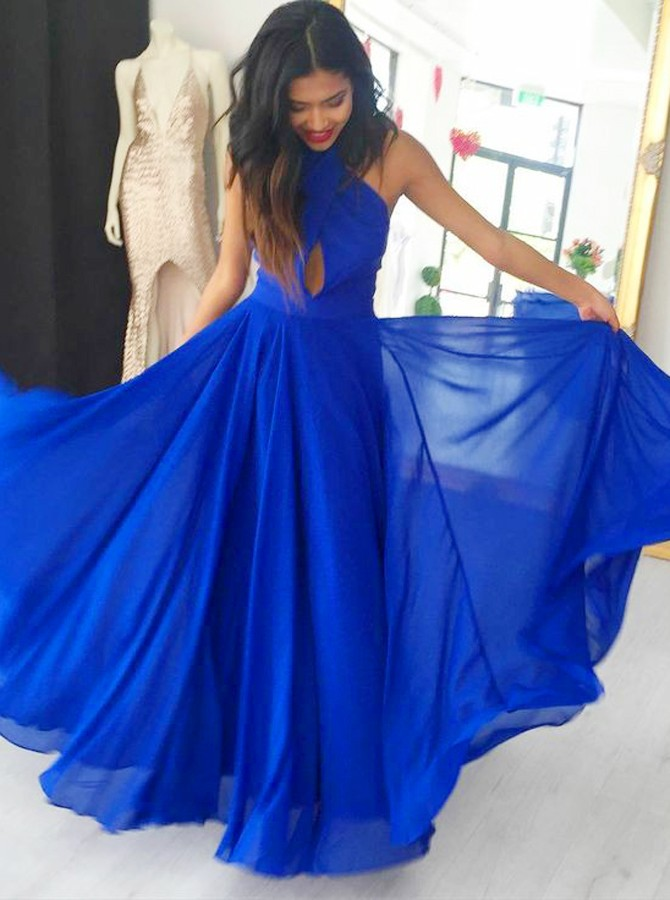 A-Line Cross Neck Backless Floor-Length Royal Blue Chiffon Prom Dress