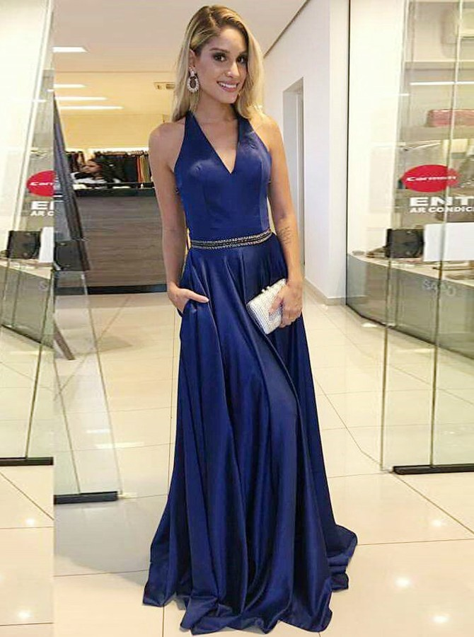 A-Line V-Neck Sweep Train Dark Blue Prom Dress with Beading Pockets