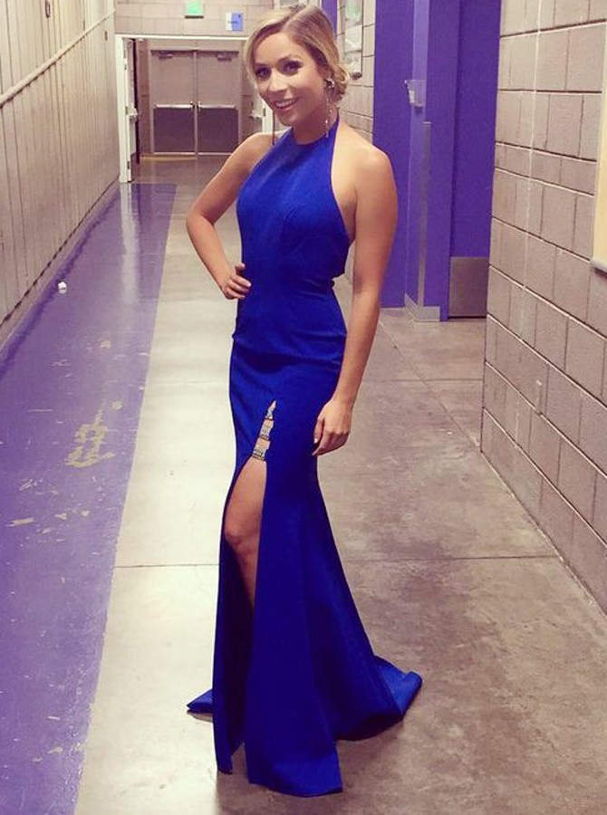 Mermaid Round Neck Backless Sweep Train Royal Blue Prom Dress with Split