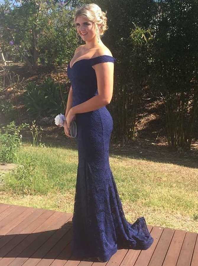Mermaid Off-the-Shoulder Sweep Train Navy Blue Lace Prom Dress