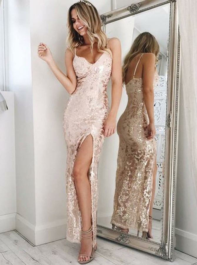 Sheath Spaghetti Straps Floor-Length Champagne Lace Prom Dress with Split