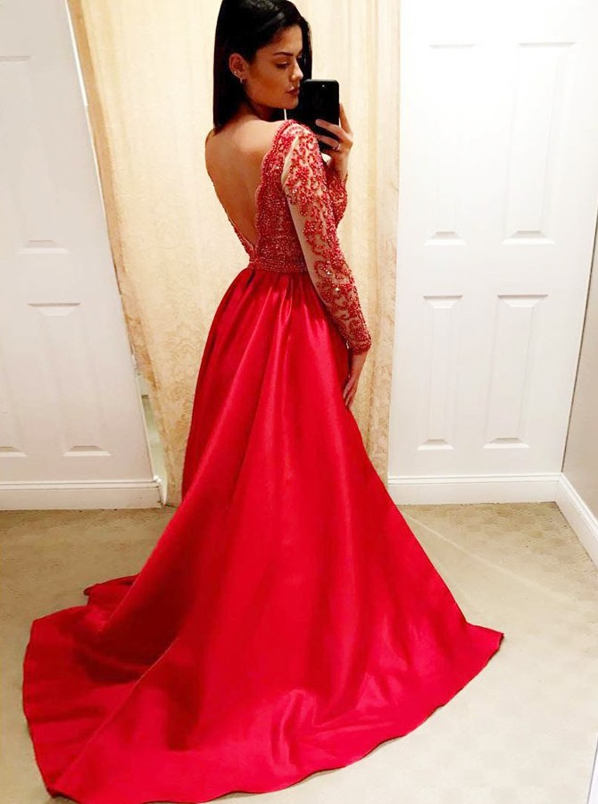 A-Line V-Neck Backless Long Sleeves Red Satin Prom Dress with Beading