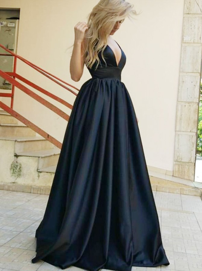 A-Line Deep V-Neck Backless Black Satin Prom Dress with Pockets
