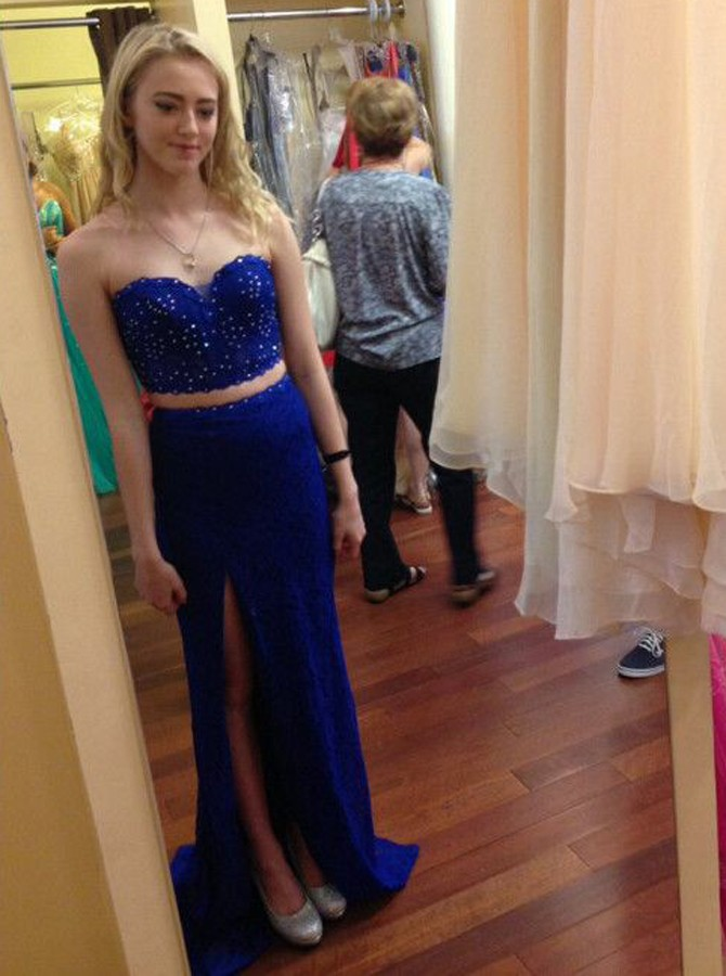 Two Piece Sweethearrt Sweep Train Royal Blue Prom Dress with Beading