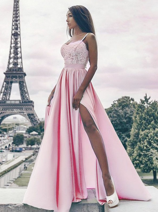 A-Line Spaghetti Straps Floor-Length Pink Prom Dress with Lace