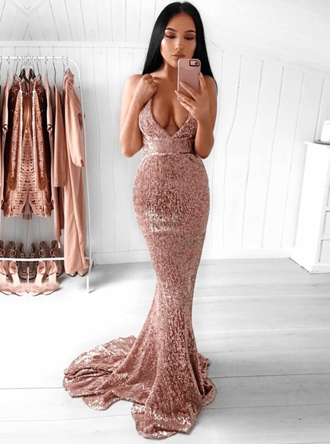 Mermaid Spaghetti Straps Sweep Train Champagne Sequined Prom Dress