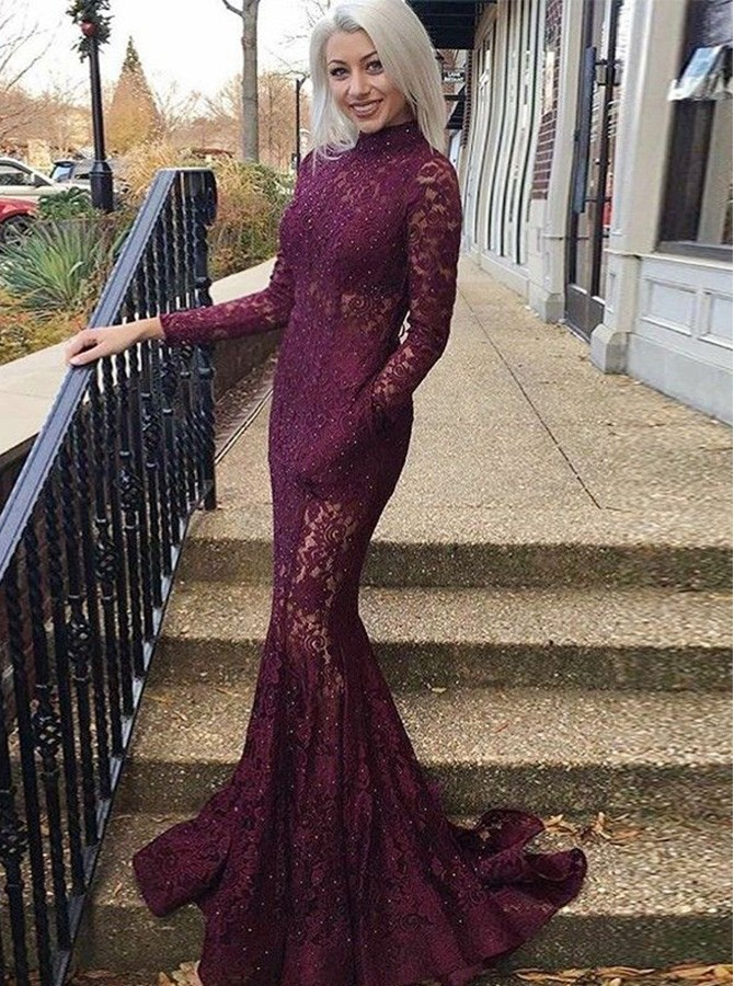Mermaid Burgundy Lace Open Back Prom Dress with Long Sleeves Beading