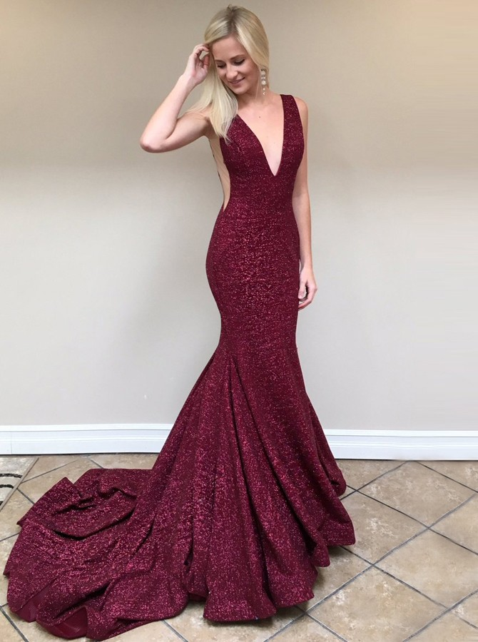 Mermaid V-Neck Backless Sweep Train Burgundy Prom Dress with Sequins