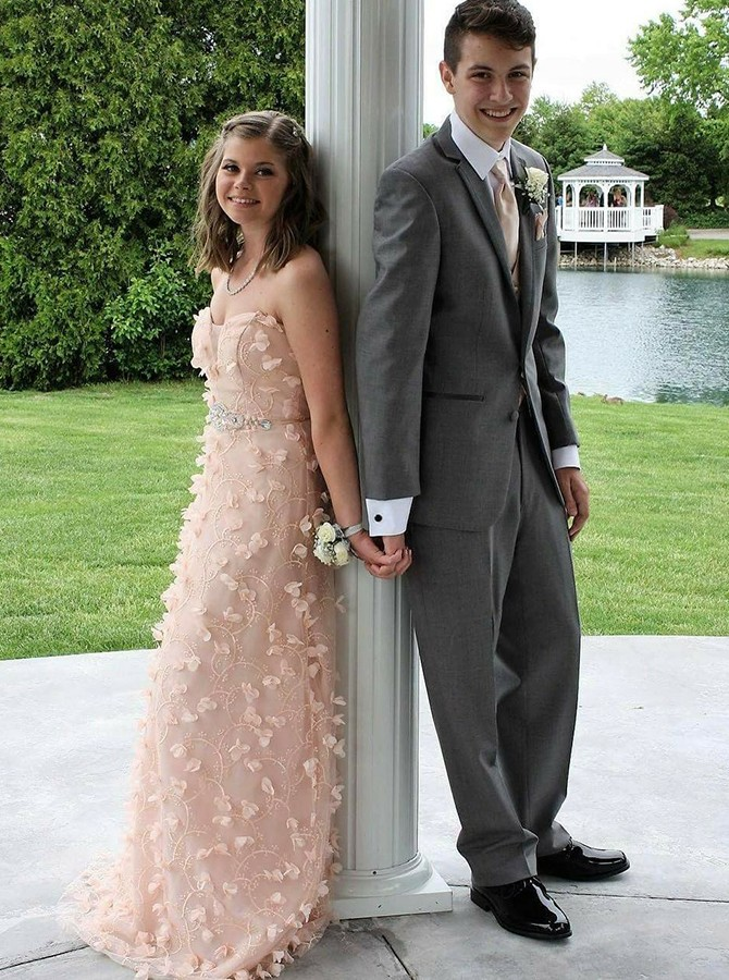 A-Line Sweetheart Sweep Train Peach Prom Dress with Appliques Beading