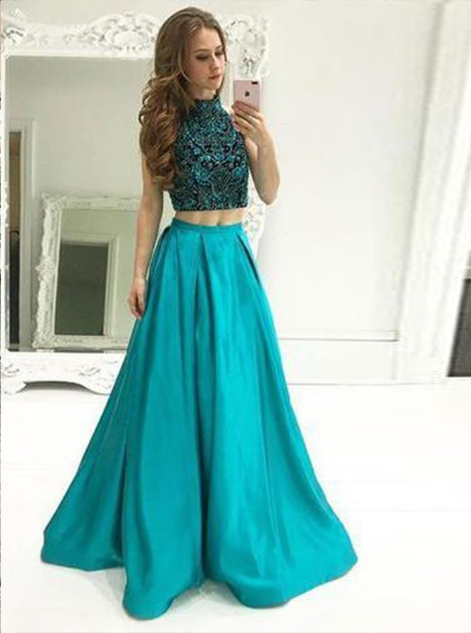 Two Piece Round Neck Floor Length Prom Dress with Beading