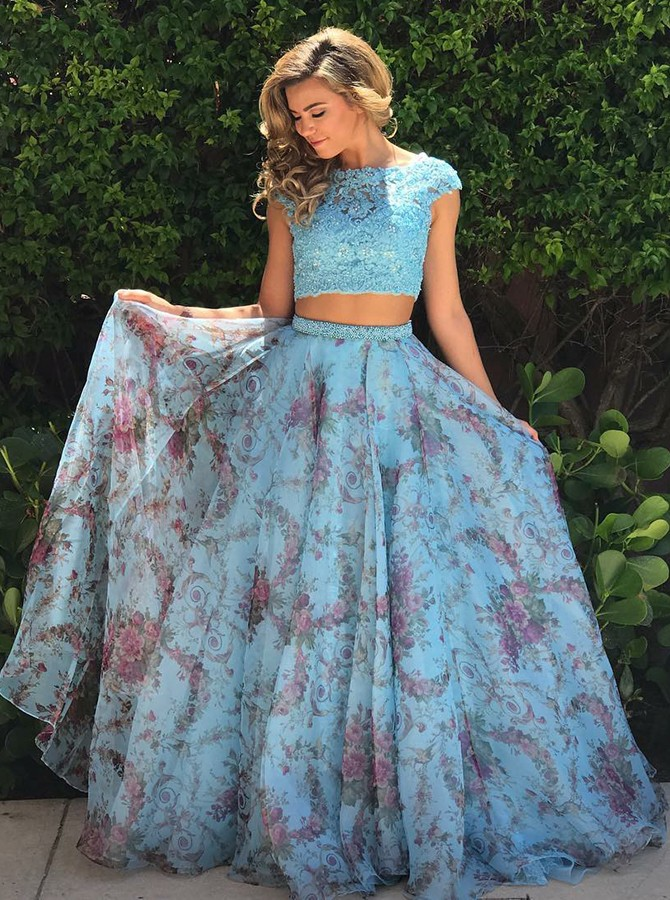 Two Piece Bateau Cap Sleeves Blue Printed Prom Dress with Lace Beading