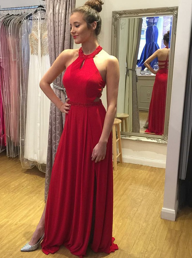 595c6378a615 A-Line Round Neck Red Long Chiffon Prom Dress with Beading Keyhole ...