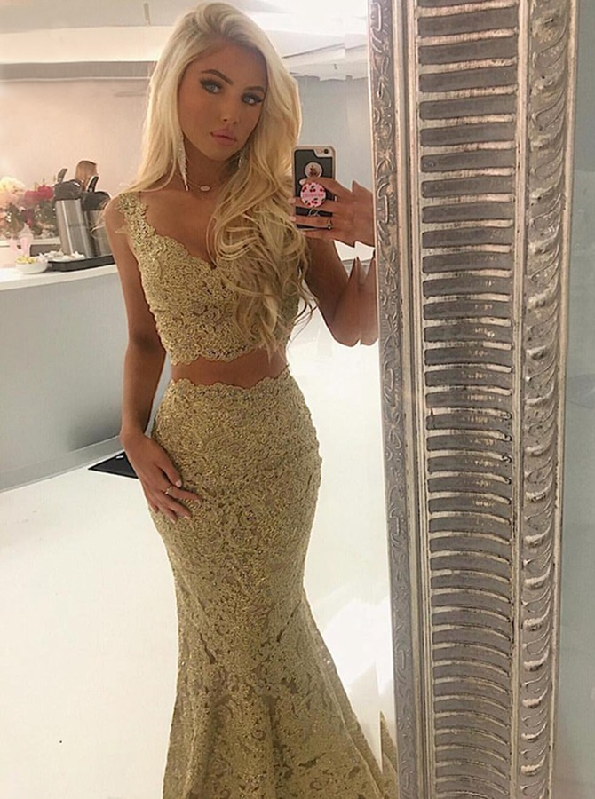 Two Piece Mermaid V-Neck Sweep Train Gold Lace Prom Dress