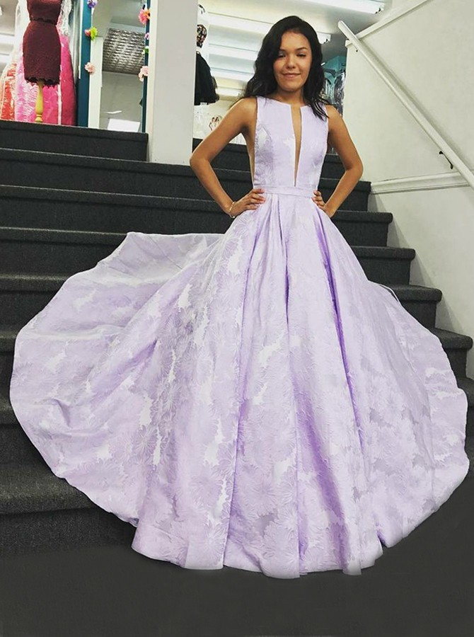A-Line Round Neck Floor-Length Lilac Printed Prom Dress with Pleats