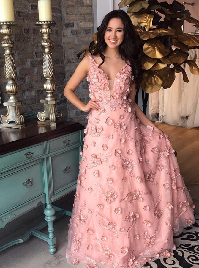 A-Line V-Neck Floor-Length Pink Prom Dress with Appliques Beading