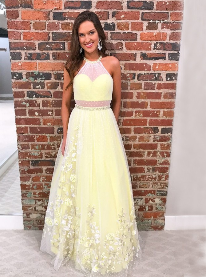 A-Line Halter Backless Floor-Length Yellow Prom Dress with Appliques Beading