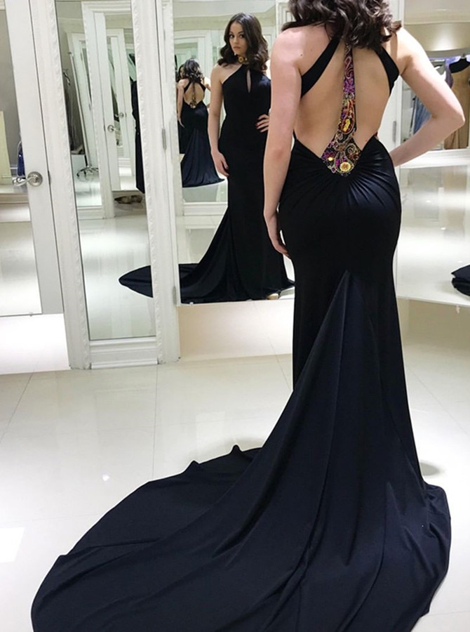 Mermaid High Neck Open Back Black Prom Dress with Appliques Keyhole