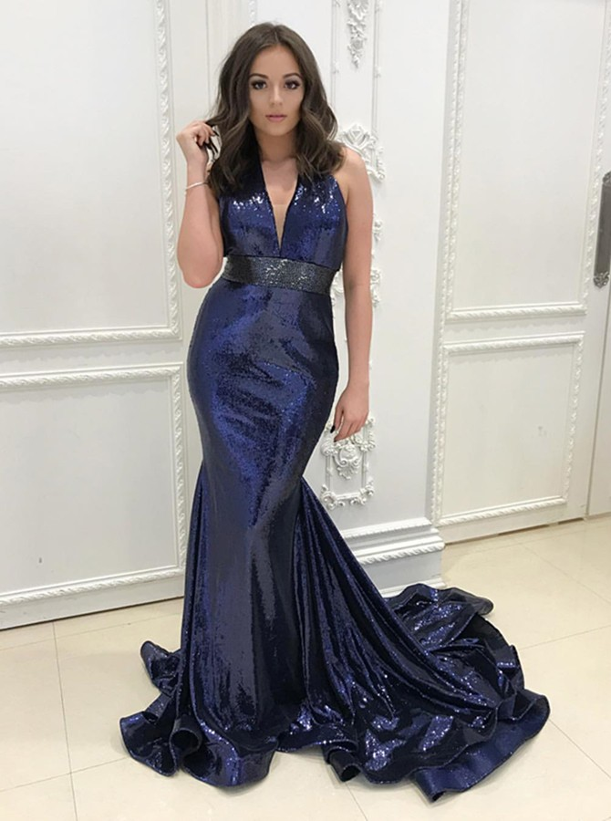 Mermaid Halter Backless Sweep Train Navy Blue Metallic Prom Dress