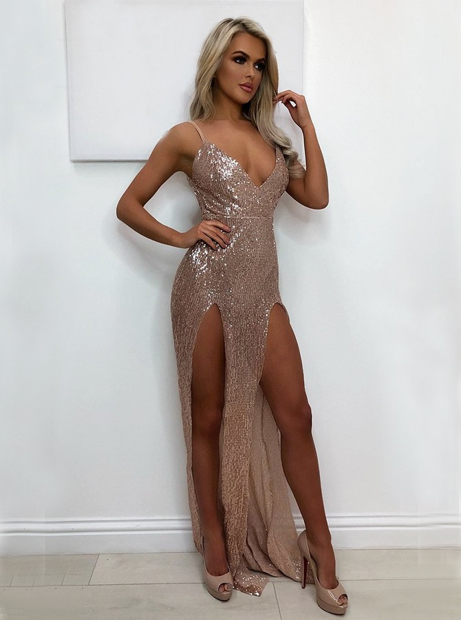 Mermaid Spaghetti Straps Floor-Length Blush Sequined Prom Dress with Split