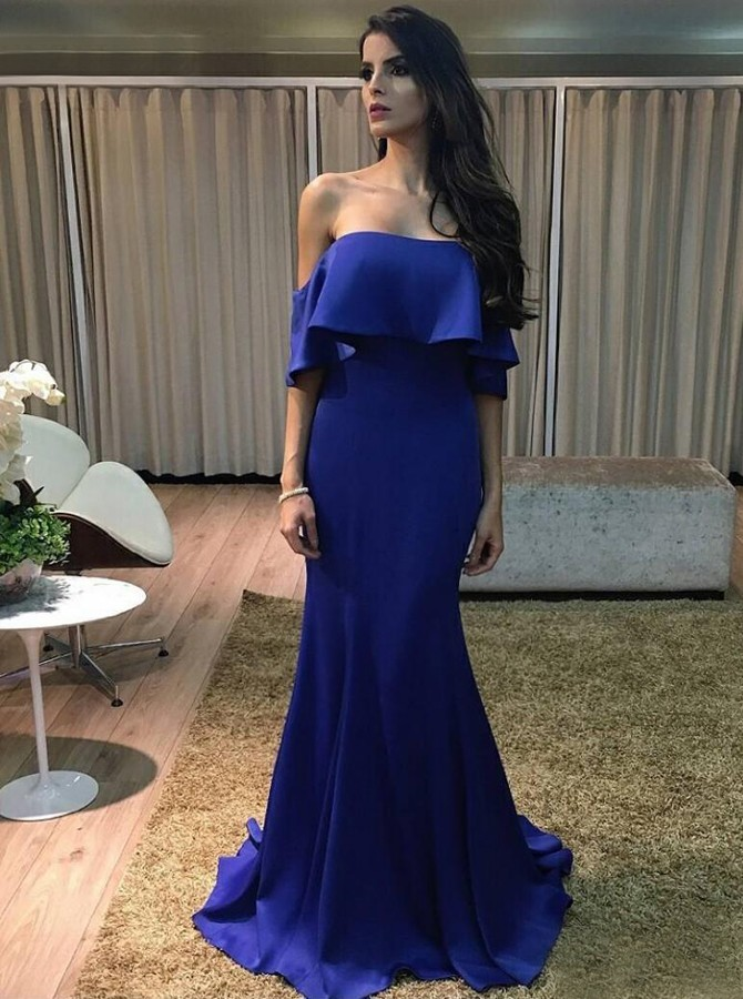 Mermaid Strapless Sweep Train Royal Blue Prom Dress with Ruffles