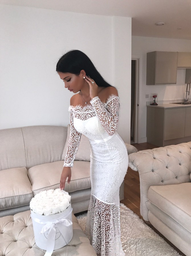 Mermaid Off-the-Shoulder Long Sleeves Floor-Length White Lace Prom Dress