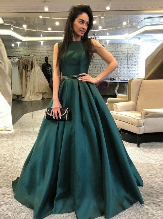A-Line Bateau Backless Sweep Train Dark Green Prom Dress with Beading Pleats