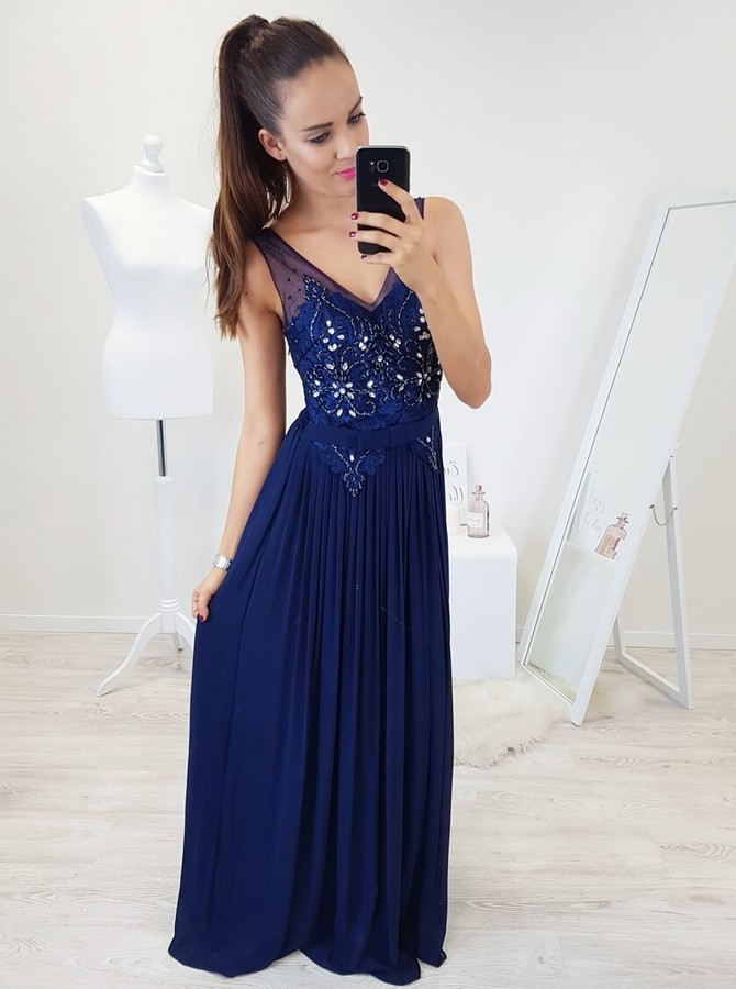 A-Line V-Neck Floor-Length Royal Blue Prom Dress with Appliques Beading