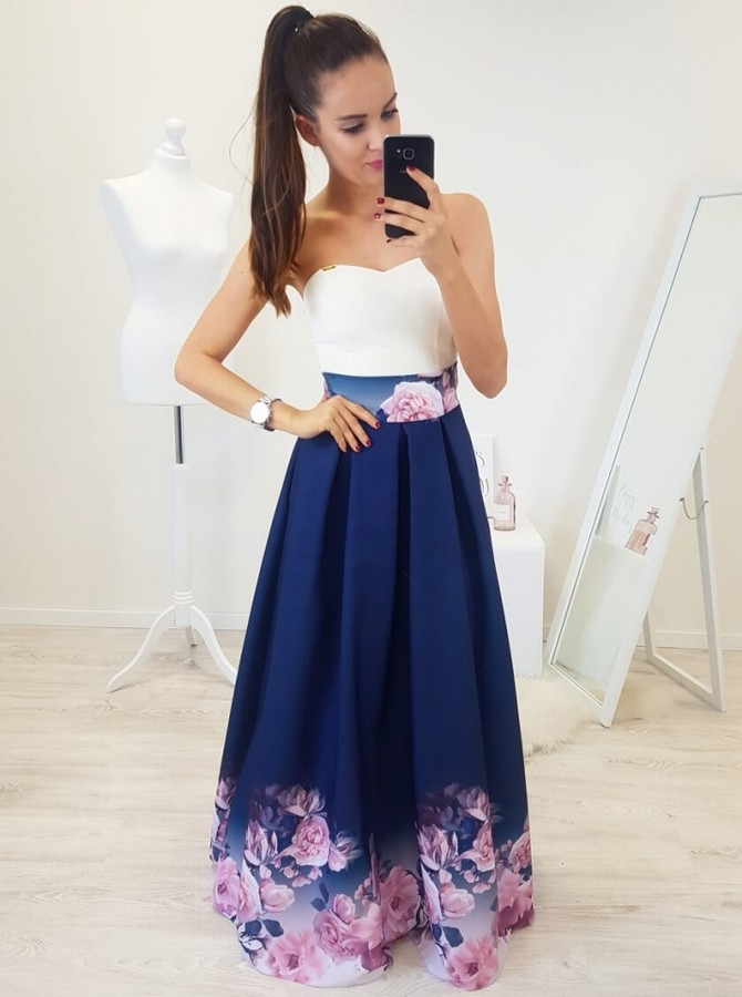 A-Line Sweetheart Floor-Length Royal Blue Printed Prom Dress with Pleats