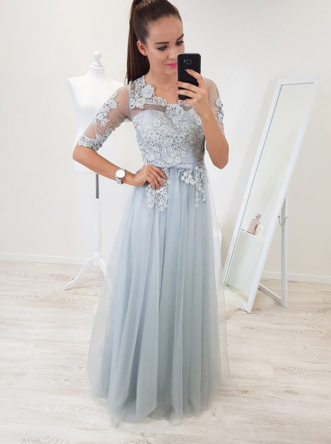 A-Line Scoop Half Sleeves Floor-Length Light Blue Prom Dress with Appliques