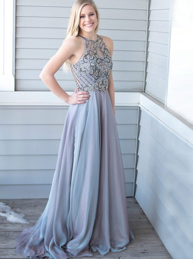 A-Line Crew Sweep Train Grey Chiffon Prom Dress with Beading