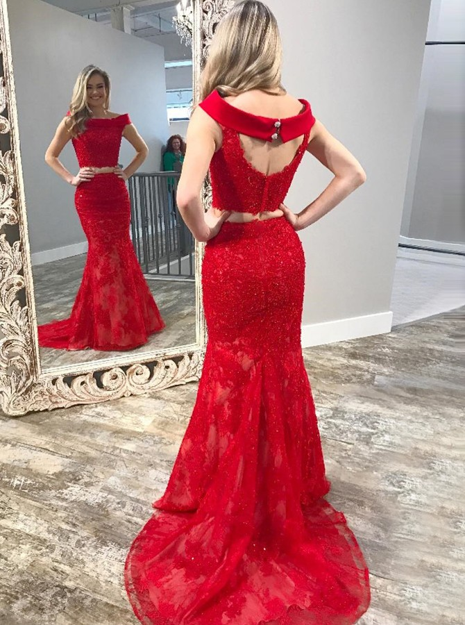 Two Piece Off-the-Shoulder Open Back Red Lace Prom Dress with Beading