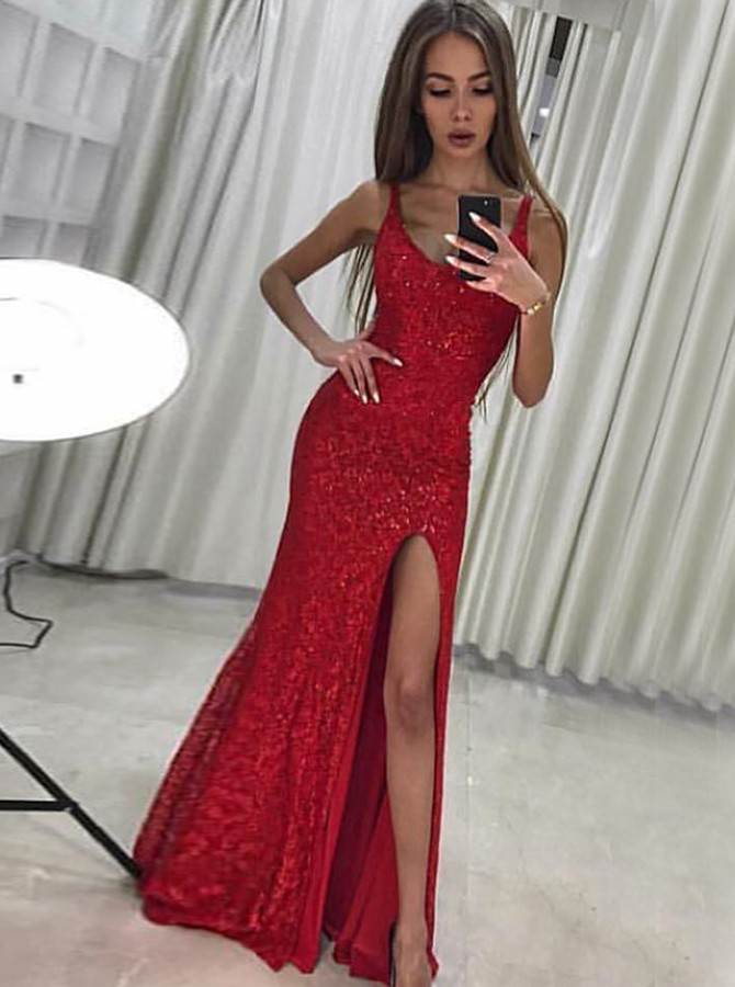 Mermaid Scoop Long Red Sequined Prom Dress with Split