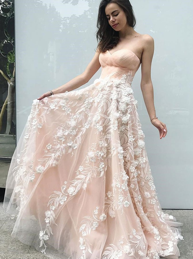 A-Line Sweetheart Sweep Train Pearl Pink Prom Dress with Appliques