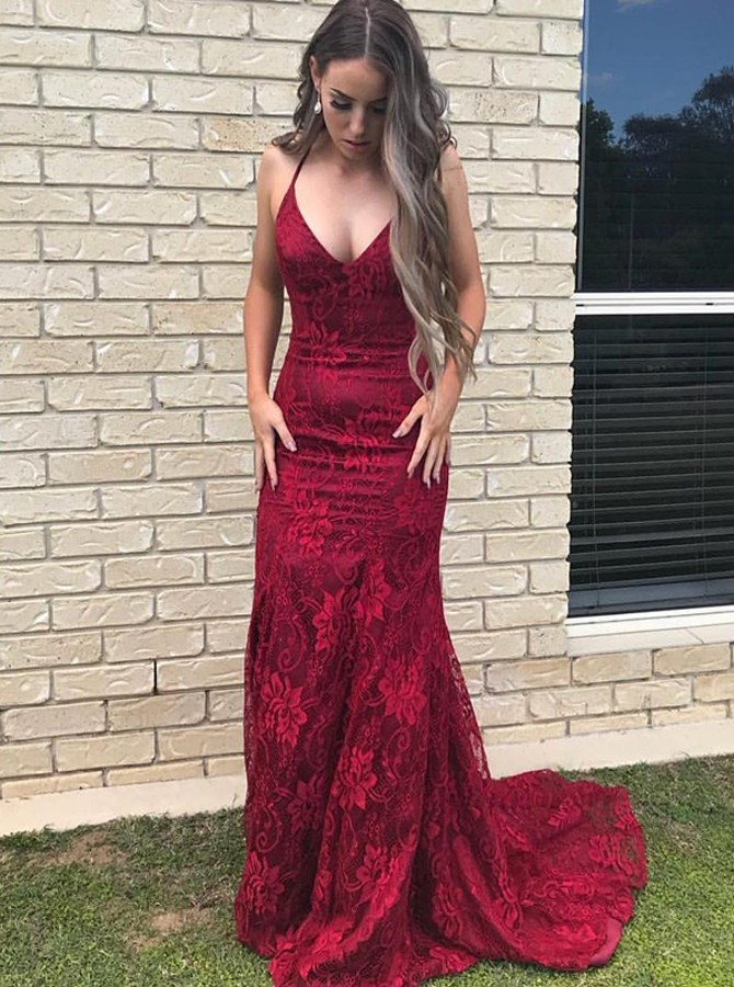 Mermaid Halter Backless Sweep Train Dark Red Lace Prom Dress