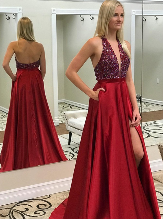 A-Line Halter Backless Sweep Train Red Beading Prom Dress with Pockets Split-Front