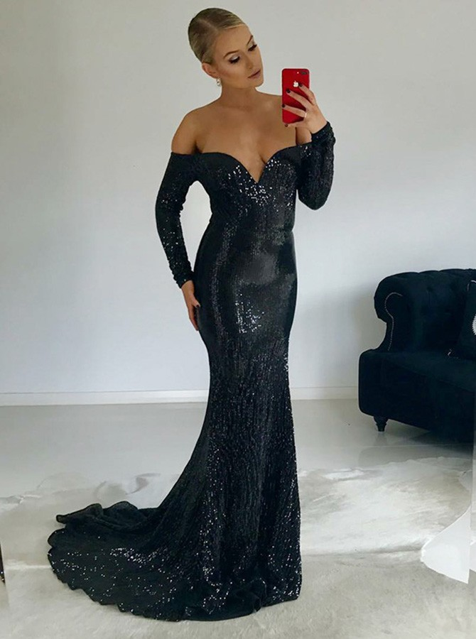 Mermaid Off-the-Shoulder Long Sleeves Long Black Sequined Prom Dress